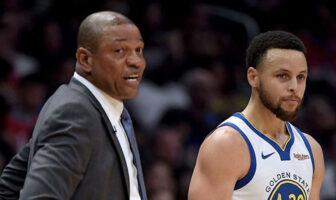 Doc Rivers et Stephen Curry lors du match opposant les Golden State Warriors aux Los Angeles Clippers