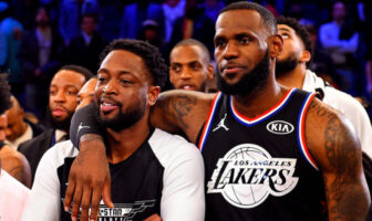Dwyane Wade et Lebron James lors du All-Star Game 2019