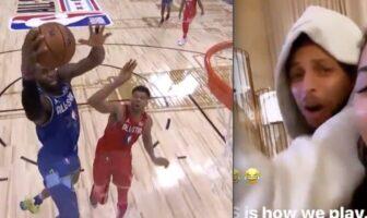 Stephen Curry comme un gamin devant le contre de Giannis sur LeBron