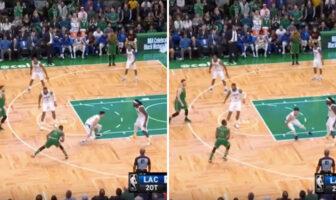 Kemba Walker crosse Landry Shamet lors du match opposant les Boston Celtics aux Los Angeles Clippers