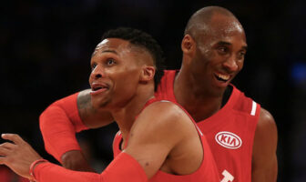 Russell Westbrook et Kobe Bryant lors du All-Star Game