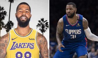Markieff Morris sous le maillots des Los Angeles Lakers et Marcus Morris sous le maillot des Los Angeles Clippers
