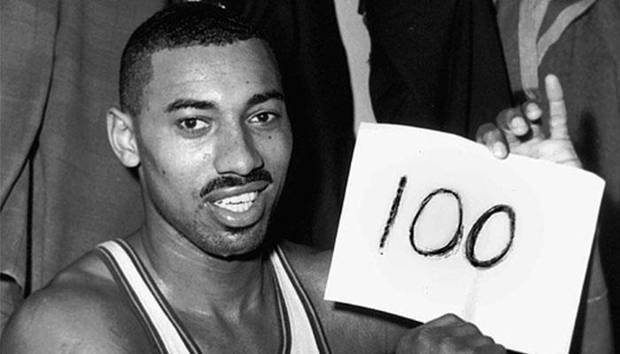 Wilt Chamberlain après sa fameuse performance à 100 points