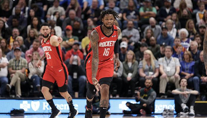 Ben McLemore célèbre un tir à 3 points sous le maillot des Houston Rockets