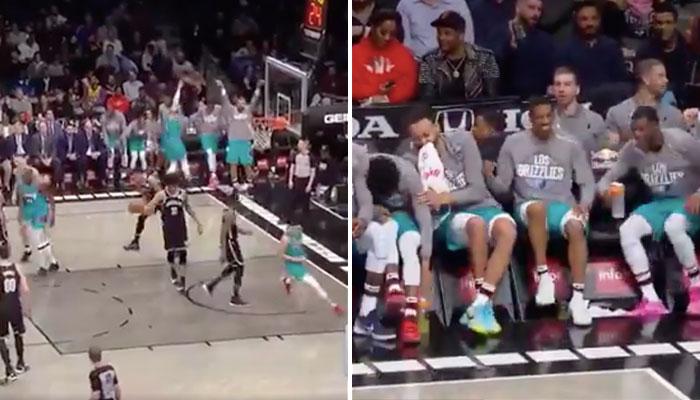Le banc des Grizzlies célèbre un tir à 3 points de leur équipe et trouent les Brooklyn Nets