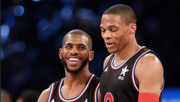 Chris Paul et Russell Westbrook lors du All Star Game 2015 à New York