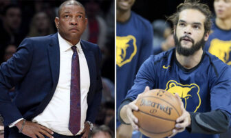 Doc Rivers, le coach des Los Angeles Clippers, et Joakim Noah, à l'échauffement d'un match des Memphis Grizzlies