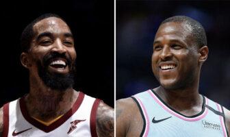 J.R. Smith sous le maillots des Cleveland Cavaliers et Dion Waiters sous le maillot du Miami Heat