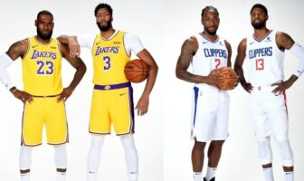 LeBron James, Anthony Davis et Kawhi Leoanrd, Paul George