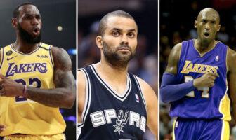 LeBron James, Tony Parker et Kobe Bryant