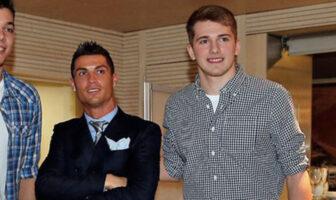 Cristiano Ronaldo et Luka Doncic lors d'un dîner de Noël organisé par le Real Madrid, en 2016