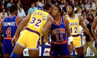 Magic Johnson et Isiah Thomas se livrent un duel fratricide lors des Finales NBA en 1988...