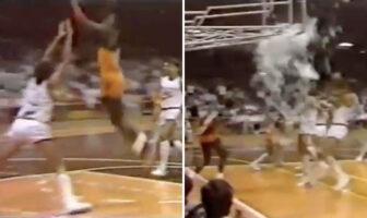 Michael Jordan monte au dune et explose la planche d'un panier lors d'un match d'exhibition, en 1985