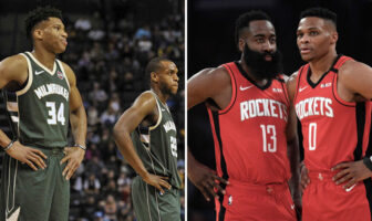 Giannis Antetokounmpo, Khris Middleton, James Harden et Russell Westbrook