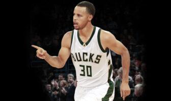 Stephen Curry sous le maillot des Milwaukee Bucks