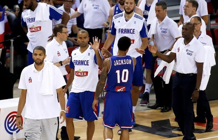 Equipe de France pendant un temps mort