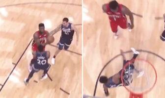 Josh Okogie prend Zion Williamson en pleine face... et s'envole