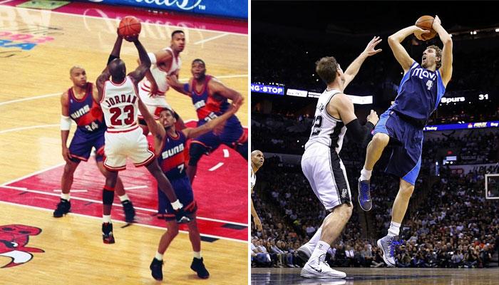 Michael Jordan et Dirk Nowitzki illustrent parfait la définition d'un mouvement inarrêtable