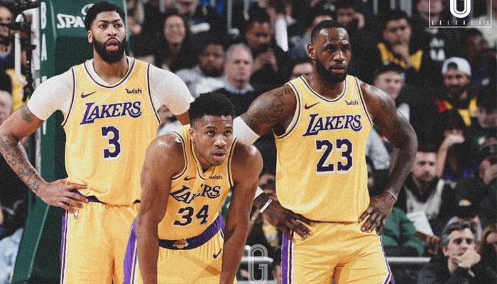 Giannis Antetokounmpo aux cotés de LeBron James et Anthony Davis aux Lakers