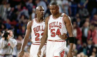 Michael Jordan et Horace Grant sous le maillot des Chicago Bulls