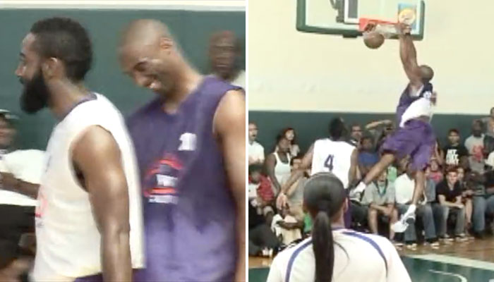 Kobe Bryant et James Harden lors d'un match de Drew League, le 16 août 2011