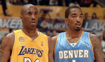 Kobe Bryant et J.R. Smith lors d'un match opposant les Los Angeles Lakers aux Denver Nuggets