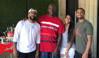 Michael Jordan avec ses enfants Marcus, Jeffrey et Jamsine