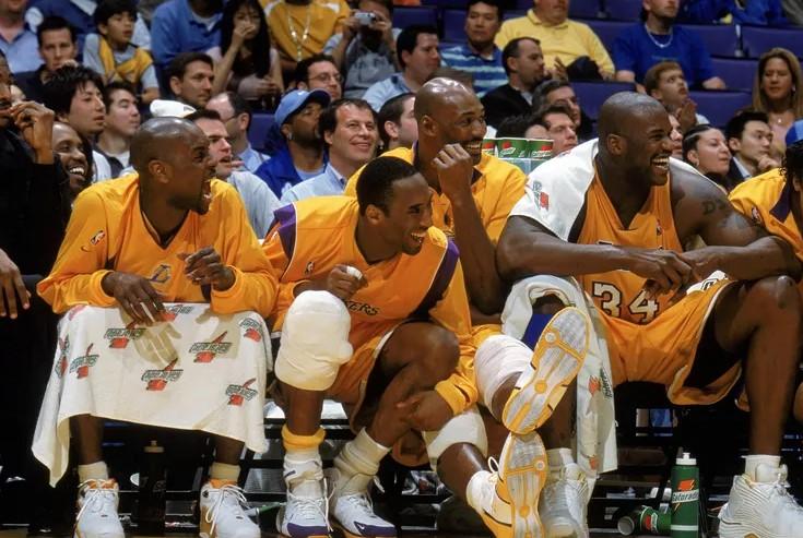 Les Lakers en 2004 avec Kobe, Shaq, Payton et Malone