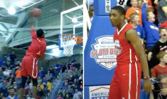 Derrick Jones Jr et Donovan Mitchell ont fait le show dans un dunk contest au lycée