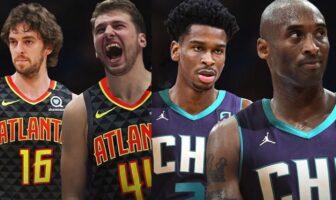 Pau Gasol et Luka Doncic sous le maillots des Atlanta Hawks : Shai Gilgeous-ALexander et Kobe Bryant sous le maillot des Charlotte Hornets