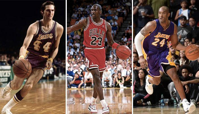 Jerry West, Michael Jordan et Kobe Bryant