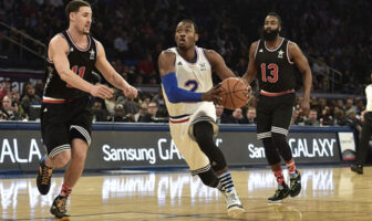 Klay Thompson, John Wall et James Harden lors du All Star Game 2015 à New York