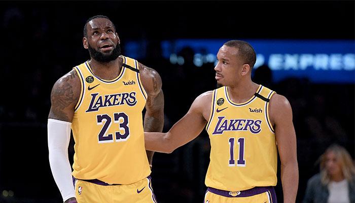 LeBron James et Avery Bradley sous les couleurs des Los Angeles Lakers