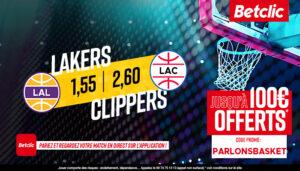NBA – 4 paris à tenter pour Clippers vs Lakers, jusqu'à 475€ à gagner !