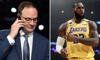 Adrian Wojnarowski, insider NBA d'ESPN, et LeBron James, joueurs des Los Angeles Lakers