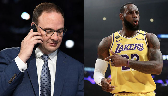 Adrian Wojnarowski, insider NBA d'ESPN, et LeBron James, joueurs des Los Angeles Lakers