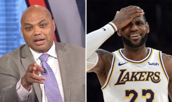 Charles Barkley, consultant de Inside the NBA, et LeBron James, star des Los Angeles Lakers