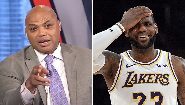 Charles Barkley, consultant de Inside the NBA, et LeBron James, star des Los Angeles Lakers