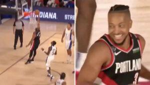 NBA – Cj McCollum rate un gros dunk ouvert… et est mort de rire !