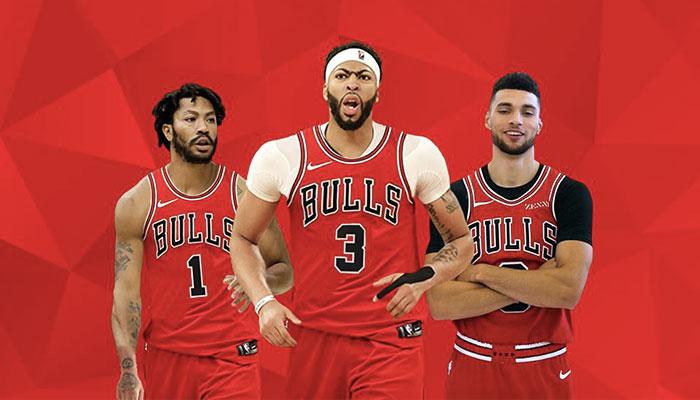 Derrick Rose, Anthony Davis et Zach LaVine sous le maillot des Chicago Bulls