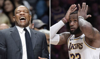 Doc Rivers, coach NBA des Los Angeles Clippers, et LeBron James, star des Los Angeles Lakers
