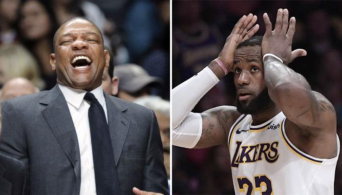 Doc Rivers, coach NBA des Los Angeles Clippers, et LeBron James, star des Los Angeles Lakers