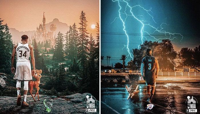 Un designer français crée des affiches joueurs NBA x Disney époustouflantes !