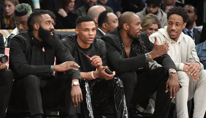 James Harden, Russell Westbrook, Serge Ibaka et DeMar DeRozan lors du All-Star Game NBA 2018