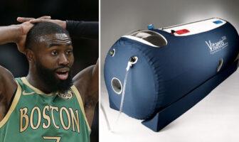 Le joueur NBA des Boston Celtics Jaylen Brown et un caisson de sommeil hyperbare