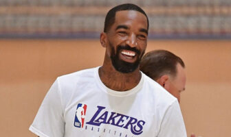 J.R. Smith tout sourire lors d'une séance d'entrainement de Los Angeles Lakers