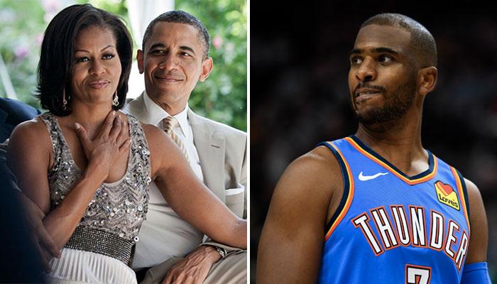 Michelle Obama accompagné de son mari, l'ancien président américain Barack Obama, ainsi que le joueur NBA du Oklahoma City Thunder Chris Paul