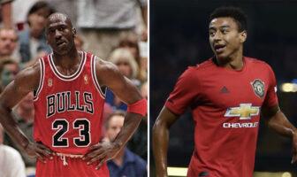La légende NBA Michael Jordan sous le maillot des Chicago Bulls, et le joueur de football de Manchester United Jesse Lingard