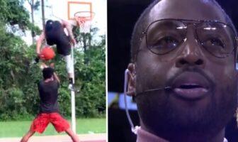 Dwyane Wade réagit au dunk d'Isaiah Rivera