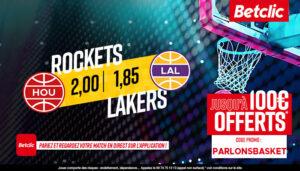 NBA – 4 paris à tenter sur Lakers vs. Rockets, jackpot de 650€ sur le pari fun !